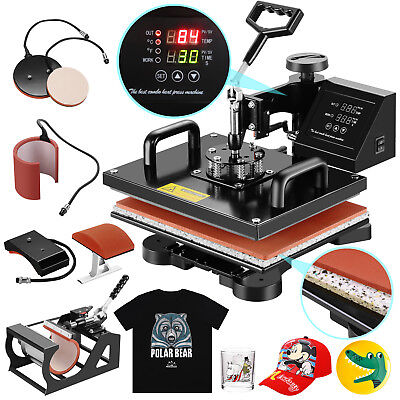 5in1 12 X 15 Heat Press Machine Digital Sublimation T-shirt Mug Plate Hat