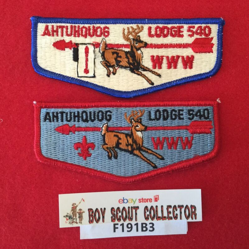 Boy Scout OA Ahtuhquog Lodge  540 2 Order Of The Arrow Pocket Flap Patches