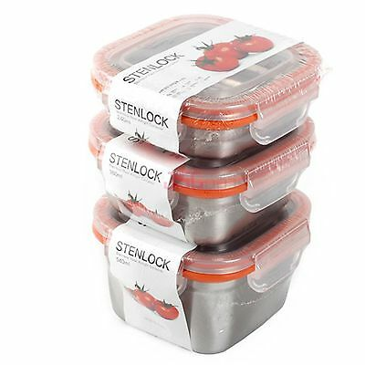 Kitchen Food Storage Container Stainless Steel Square Keep Side dish Set 3p  Square Food Storage Set