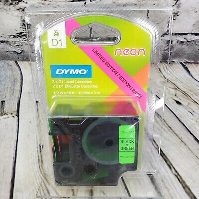 Dymo D1 Labeling Tape 2-pack Limited Edition Black On Neon Pink Neon Green