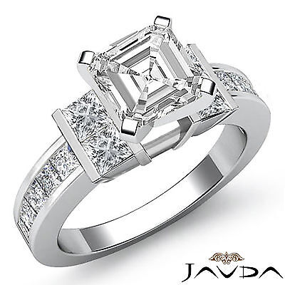 Asscher Shape Diamond Engagement Channel Invisible Set Ring GIA I Color SI1 2Ct