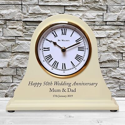Engraved 50th Golden Wedding Anniversary Mantel Clock 50 Years Gold Gift Idea ()