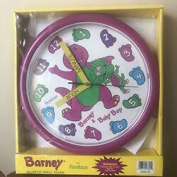 Vintage Barney Purple Dinosaur Wall Clock Teach Me Time Baby Bop 10 Round 1993
