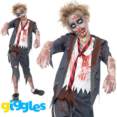 Zombie School Boy Costume Uniform Halloween Scary Evil Dead Fancy Dress Outfit - Zombie Boy Halloween Costume