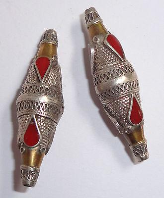 2 High Quality SILVER Gold Wash Carnelian Turkoman Ethnic Tribal Bicone BEADS