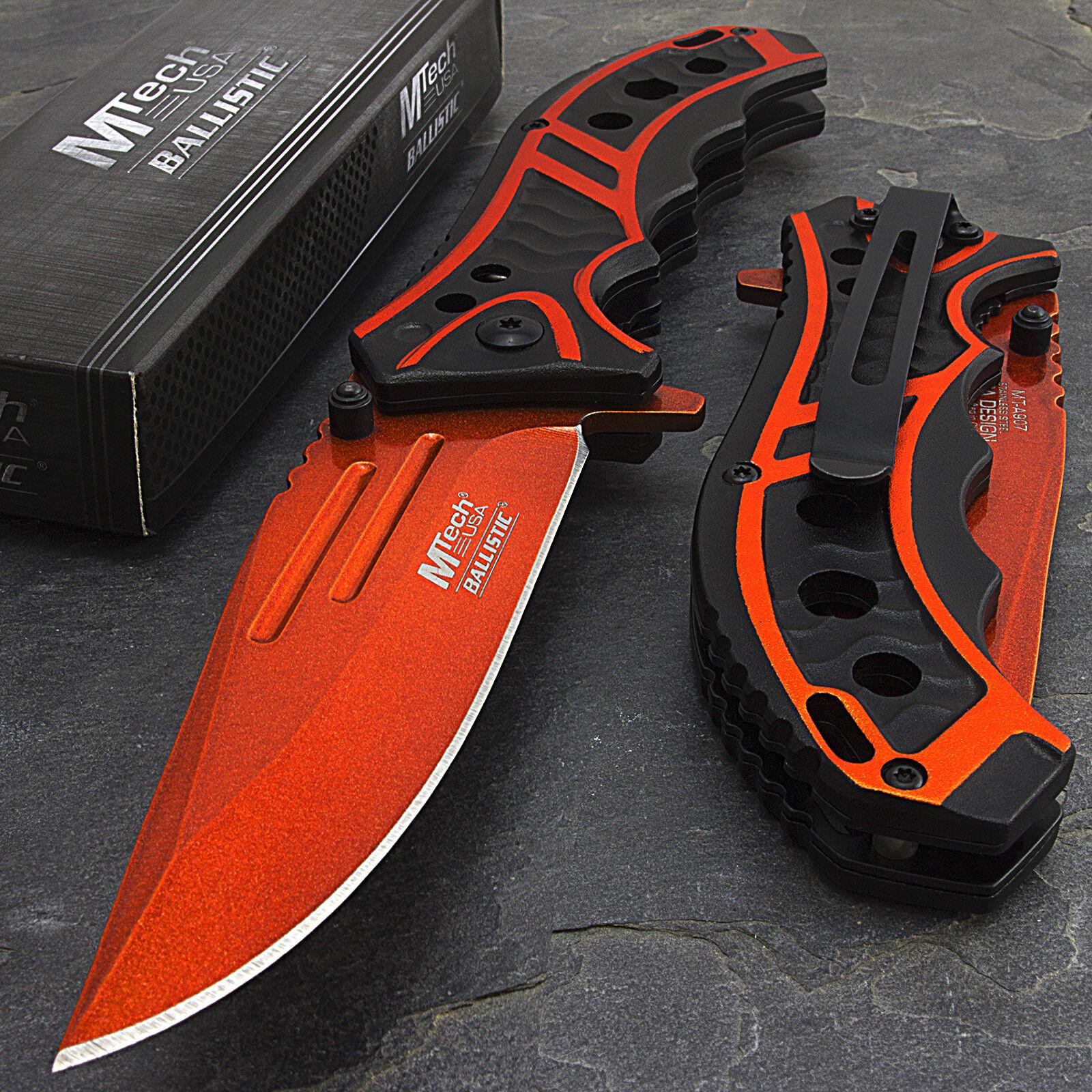 """Knife - 8.25"""" MTECH USA ORANGE SPRING ASSISTED TACTICAL FOLDING POCKET KNIFE Assist Open"""