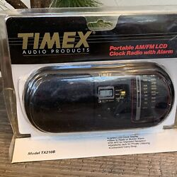 Vintage Timex Model TX210B Portable Am/Fm LCD Clock Radio with Alarm