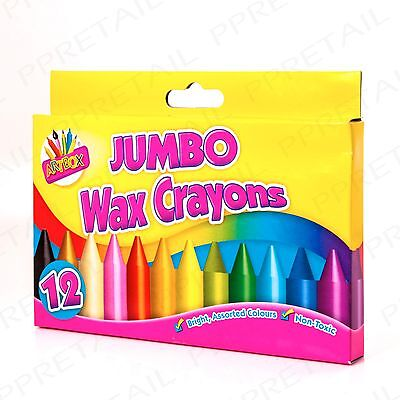 12Pc EASY GRIP JUMBO WAX CRAYONS Made For Small Hands Kids Colouring/Drawing Set