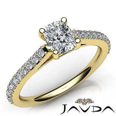 Cushion Diamond Double Prong Engagement Ring GIA H VVS2 18k Yellow Gold 0.75Ct