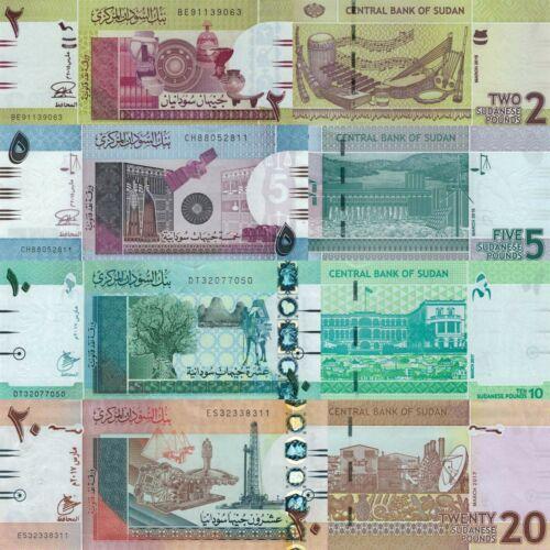Sudan 4 Note Set: 2, 5, 10, 20 Pounds (2015/2017) - p-71c,p-72c,p-73c,p-74d UNC