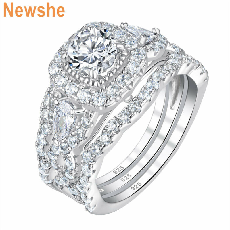 Newshe 3pcs Engagement Wedding Ring Set Round Pear Aaaa Cz 925 Sterling Silver
