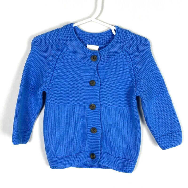Hanna Andersson Baby Organic Cotton Cardigan Sweater 12-18 Mos 75cm Blue