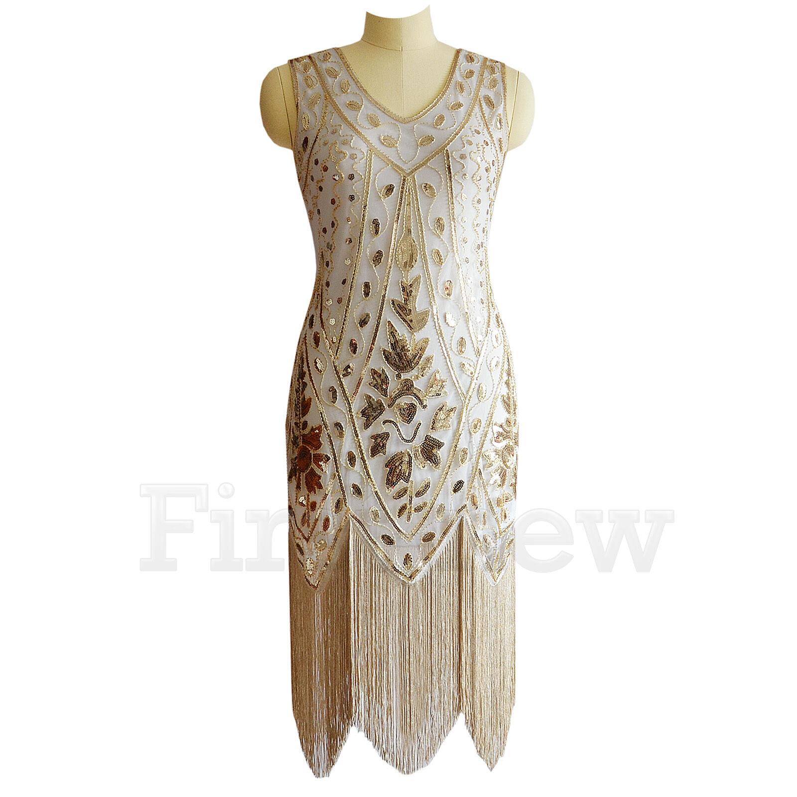 1920s Flapper Dress Gatsby Party Art Deco Sequin Cocktail Fringe ...