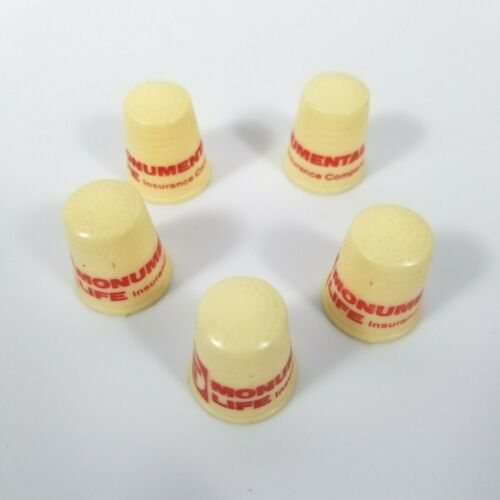 Vintage Thimbles Plastic Advertising Lot of 5 Numbered Sewing Quilting