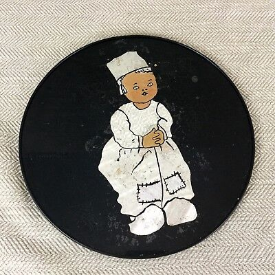 Art Deco Wall Plaque Painting Vintage Hand Painted Dutch Girl Child Black Silver
