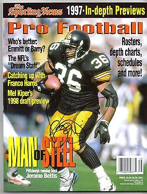 Pittsburgh Steelers JEROME BETTIS autograph signed 1997 Sporting News Magazine