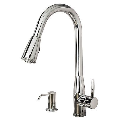 """Contemporary 16"""" Pull-Down Spray Kitchen Sink Fauce Soap Dispenser Chrome Finish"""