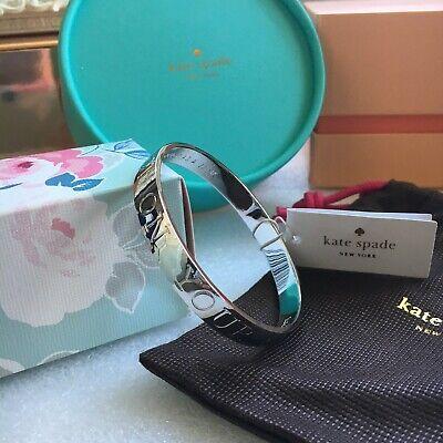 BNWT kate spade new york Silver Bangle Bracelet Bag Travelling Traveller JET SET