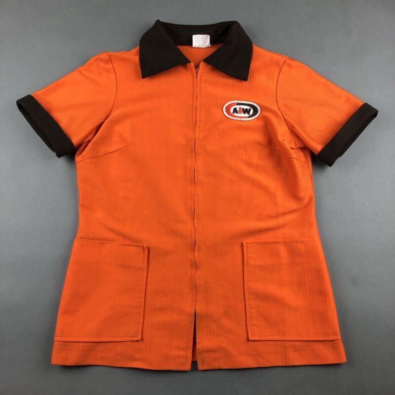 Vintage  A&W Root Beer Restaurant Employee Carhop Uniform Shirt Size XS / S