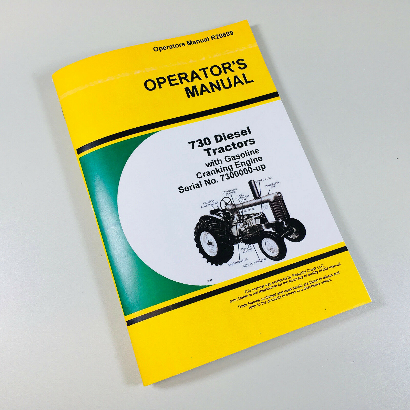 OPERATORS MANUAL FOR JD 730 DIESEL TRACTOR w/ GASOLINE CRANKING ENGINE.  Complete Operations/Controls/Maintenance. 132 Pages