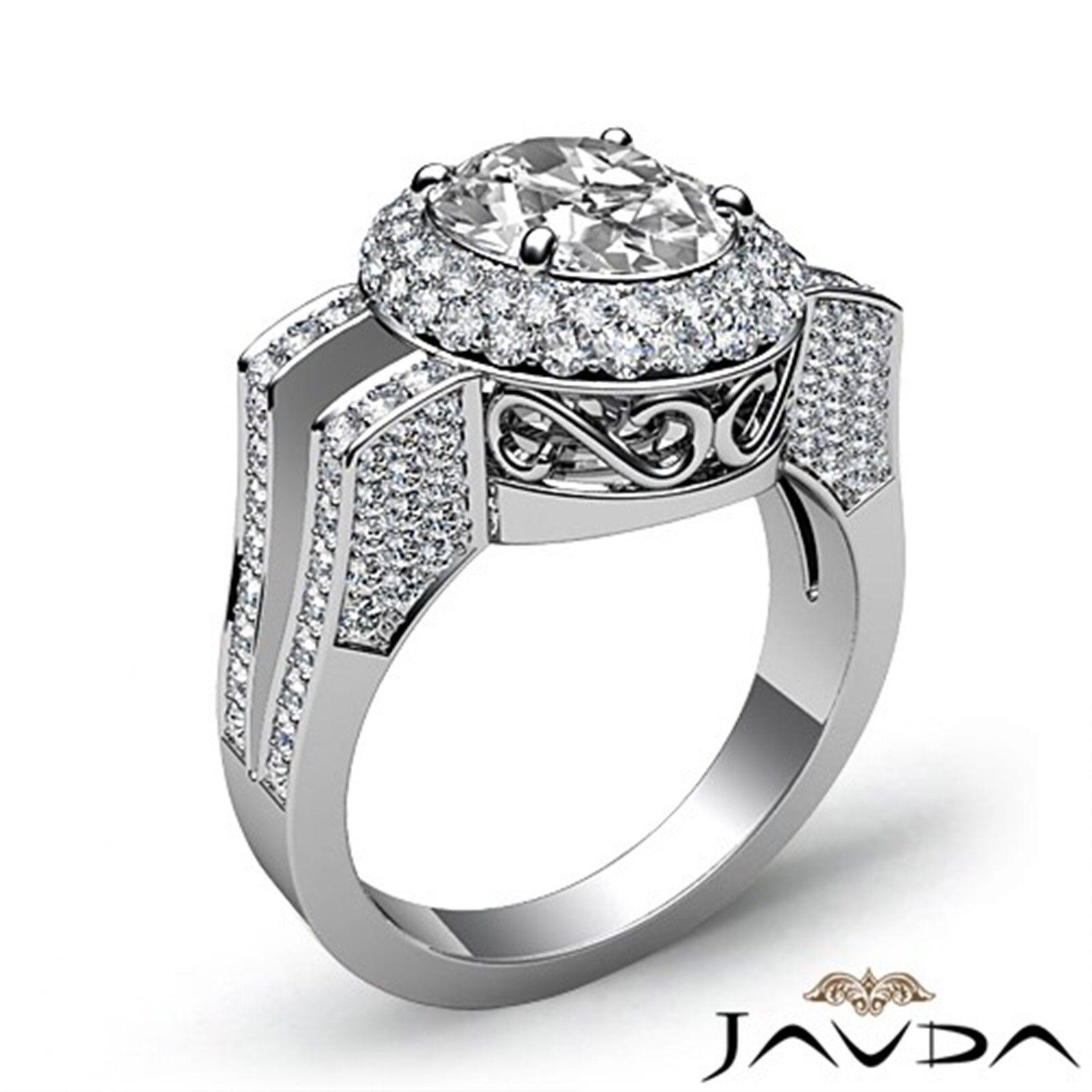 1.9ctw Gala Halo Split Shank Oval Diamond Engagement Ring GIA E-VS2 White Gold 1