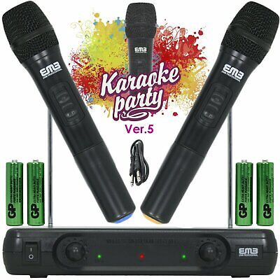 Wireless Microphone Dual Handheld 2 x Mic Cordless Receiver