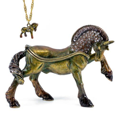 Bejeweled Horse Enameled Pewter Metal Trinket Box With Mini Pendant Necklace!