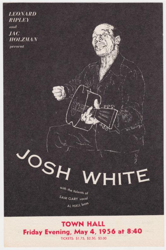 JOSH WHITE Original 1956 Concert Handbill / Flyer