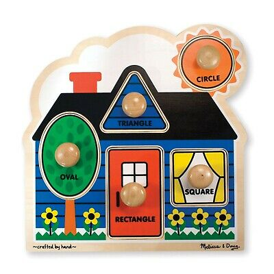 - Melissa & Doug First Shapes Jumbo Knob Puzzle, Thick Wooden Construction, 5 PCS