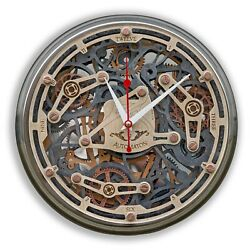 Automaton 1928 Steel Frame Moving Gears Wall Clock Handcrafted Unique Design