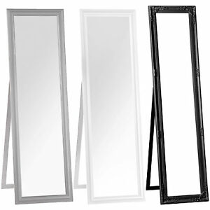 Free standing floor mirror black white grey wood cheval for Long wide mirror