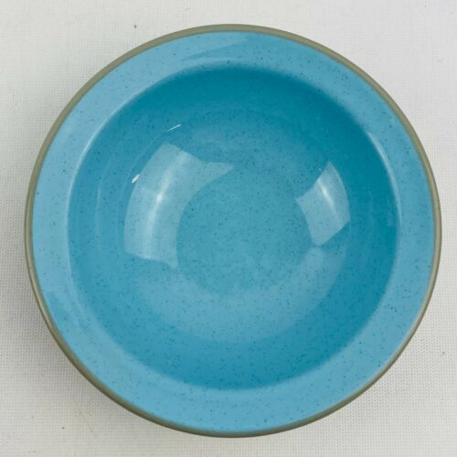 Vintage Harkerware Stone China Blue Speckle Coupe Cereal Bowl Gray Trim