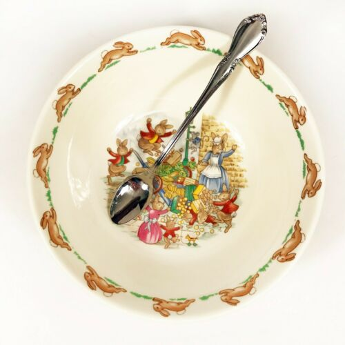Royal Doulton Bunnykins Bowl Toppling Cart and Oneida Chateau Baby Spoon