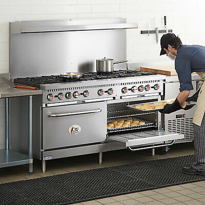 60 Natural Gas Commercial Kitchen 10 Burner Range With 2 Standard Ovens
