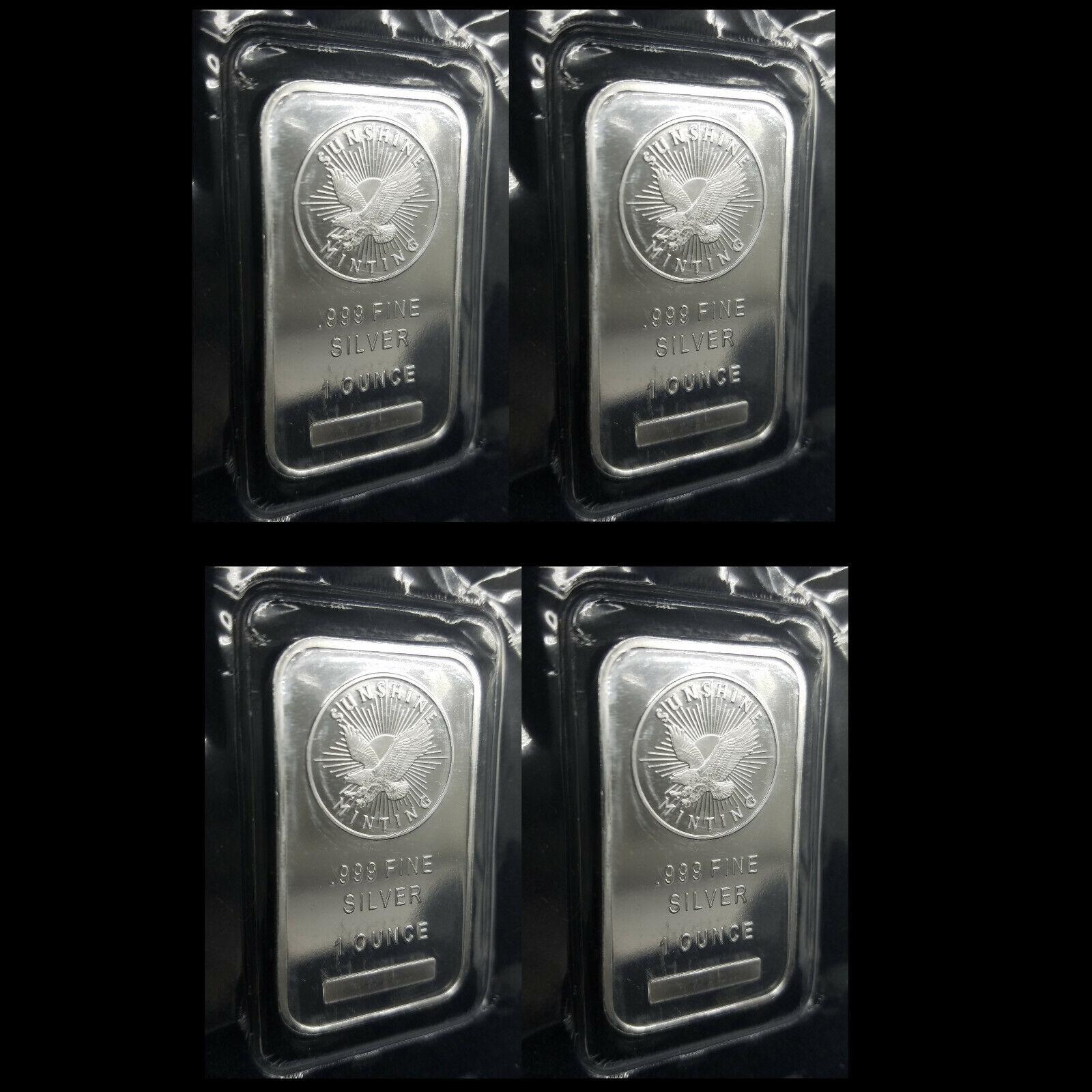 Lot Of 4x Sunshine Minting 1oz .999 Fine Silver Bars W/Mint Mark SI 22 - $83.88