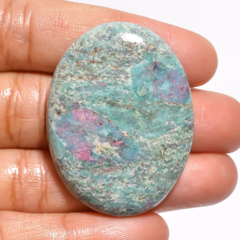 Natural Ruby Fuchsite Oval Cabochon Loose Gemstone 70.5 Ct. 40X31X7 mm EE-19149