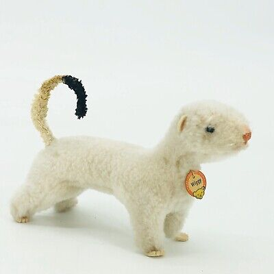 "Steiff Wiggy Stuffed White Toy Plush Weasel with Neck Tag 7"" Germany"