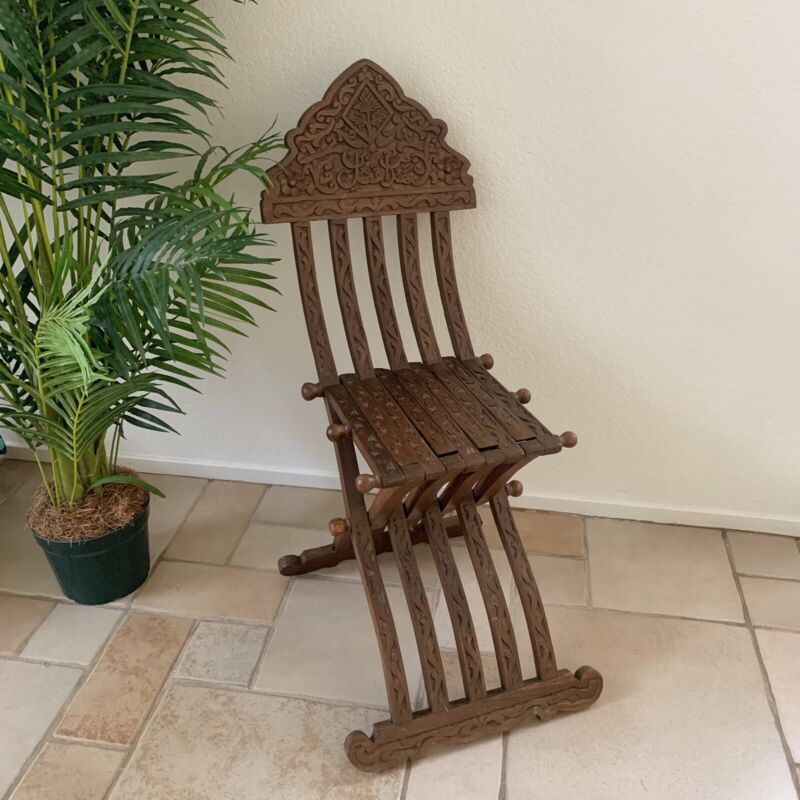 Antique Middle Eastern Beautiful Ornate Carved Wood Folding Chair Arabic Islamic