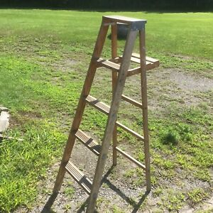 Vintage 5 feet Wooden Stepladder and metal step ladder