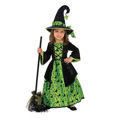 Girls Cute Green Wicked Witch Dress Hat Classic Halloween Costume Child 2T 4T 6](4t Witch Costume)