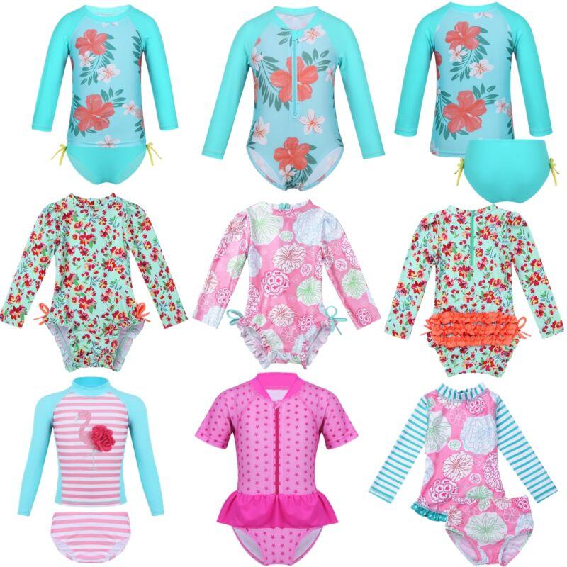 UPF 50 Rash Guard Swimsuit Toddler Baby Girls Bathing Suit Swimming Beachwear