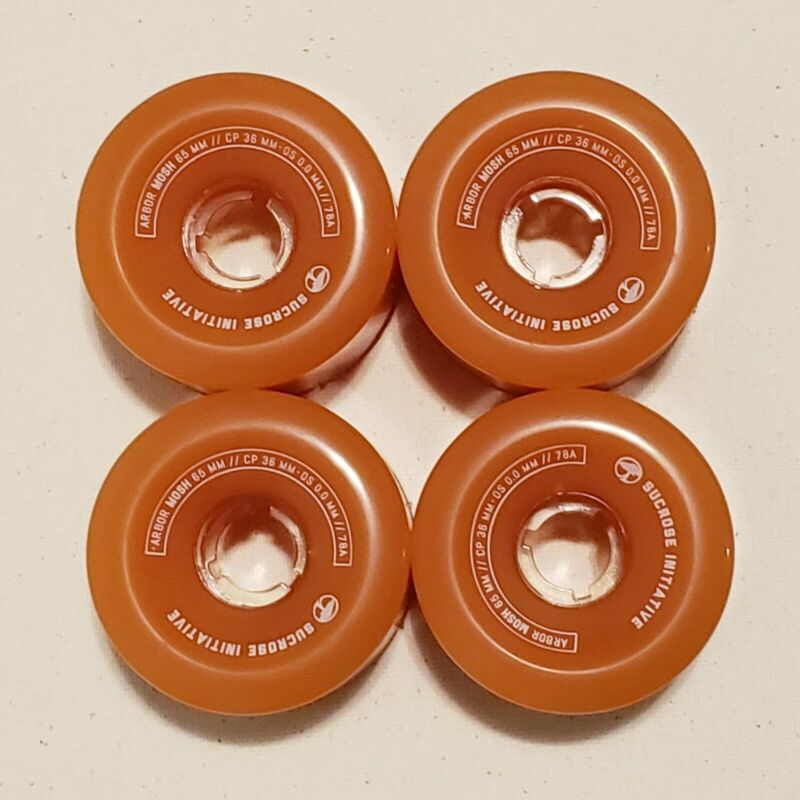 4 ARBOR Wheels Longboard Skateboard Cruiser Mosh 65mm 78A 36mm Orange