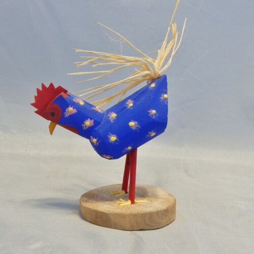 Signed Navajo Folk Art Wood Painted Chicken Figure by D HERB