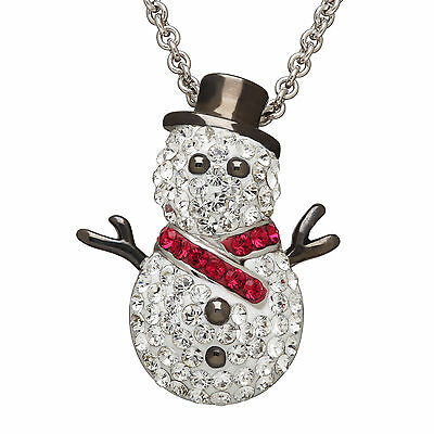 Crystaluxe Snowman Pendant with Swarovski Crystals in Sterling Silver