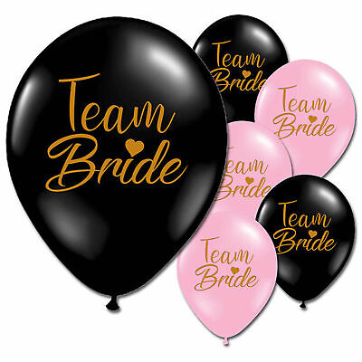 Team Bride Black Pink Gold Hen Night Do Party Latex Printed Balloons Decorations - Pink Black Balloons