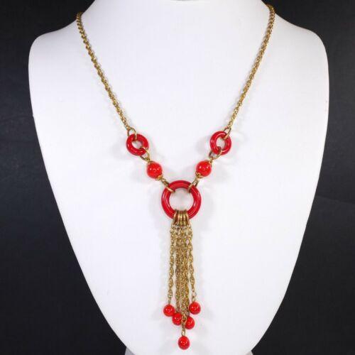 Fab Antique Art Deco Red Czech Glass Gilt Tassel Necklace Bead Drops /Hoop Glass