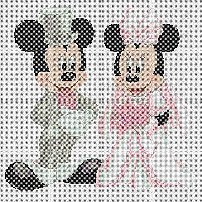 Disney  Cross stitch chart  mickey mouse and minnies wedding-..FREE UK P&P....