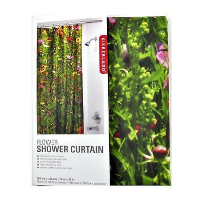 Kikkerland Flowers Shower Curtain Floral Flower Meadow Design Bathroom Accessory
