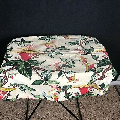 VTG Barkcloth Material Fabric Footstool Cover Exotic Tropical Palm Leaf Floral  Palms Fabric Footstool