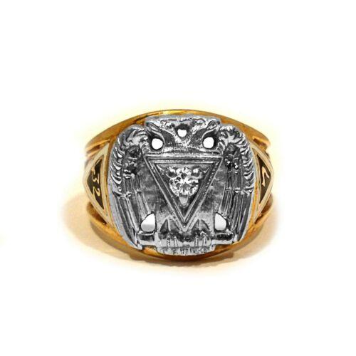 SOLID 10K YELLOW GOLD ENAMEL DECORATED MASONIC DIAMOND RING ~ SIZE 10 3/4